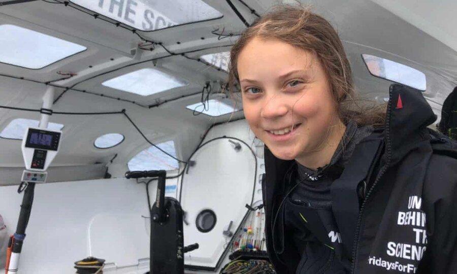 عکس روز: گرتا تانبرگ روی اقیانوس اطلس