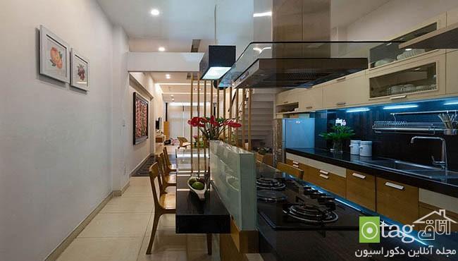 دکوراسیون داخلی خانه باریک با چیدمانی بسیار شیک و کاربردی